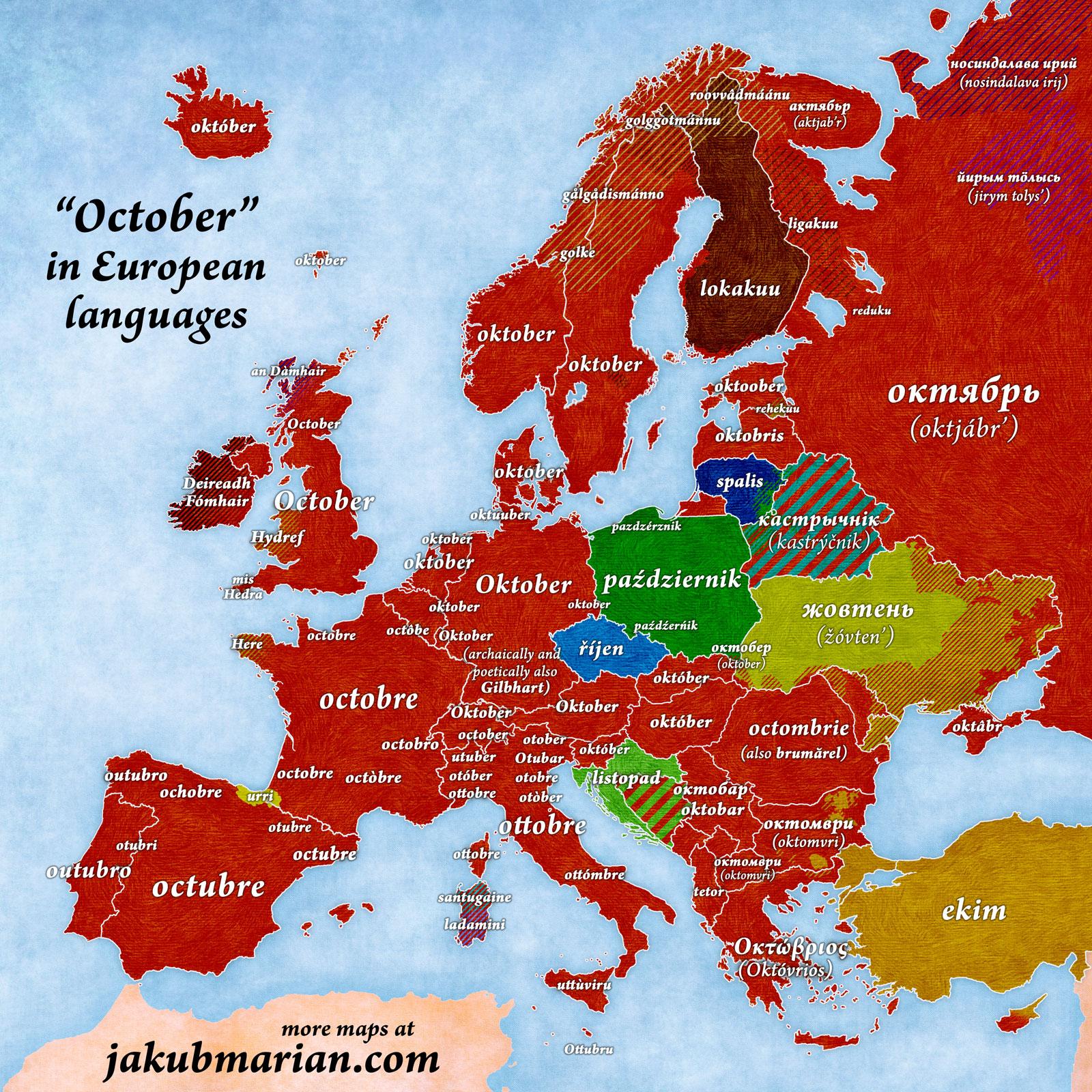 «Oktobris» Eiropas valodās